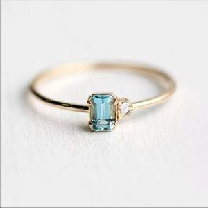 Beautiful blue square gem with diamond ring